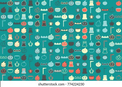 Halloween vector pattern with colored elements