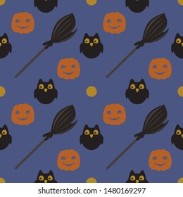 Halloween vector pattern. Flat design. Seamless pattern with funny pumpkin, a owl, a broom. Violet background. Smiling pumpkin.