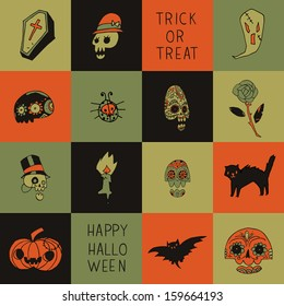 Halloween vector pattern for web page backgrounds, postcards, greeting cards, invitations, pattern fills, surface textures.