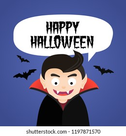 Halloween vector poster illustration card with funny vampire character and bats.