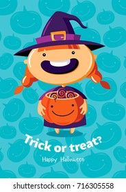 Halloween vector poster trick or treat with witch on seamless background