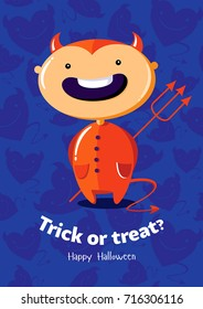 Halloween vector poster trick or treat with devil on seamless background