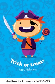 Halloween vector poster trick or treat with pirate on seamless background