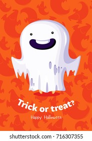 Halloween vector poster trick or treat with ghost on seamless background