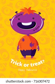 Halloween vector poster trick or treat with zombie on seamless background