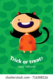 Halloween vector poster Trick or treat with cat girl on seamless background