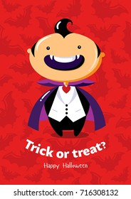 Halloween vector poster Trick or treat with vampire on seamless background