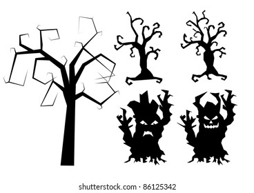Halloween vector scary trees