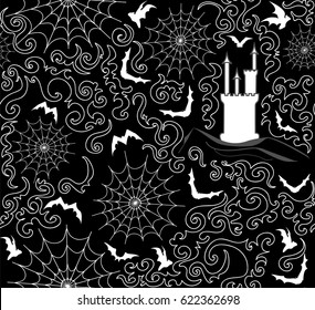 Halloween vector seamless pattern with bats, gothic castles and spiderweb. You can use any color of background