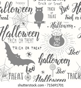 Halloween vector seamless pattern with cauldron, web, spider, bat, owl and hand made lettering. Pattern can be used for wallpaper, web page background, surface textures.