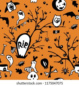 Halloween vector seamless pattern with owls, ghosts, bats, spiders, skulls and trees.