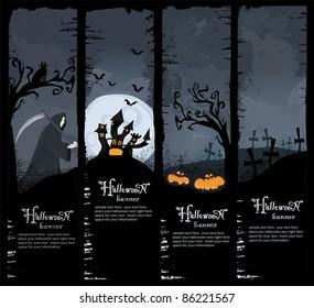 Halloween vector series. Set of four Halloween banners. Standard size.