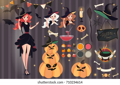 Halloween Vector set. Beautiful ginger witch broomstick. Vector illustration of Witch with different items: bones, skulls, punch, bat, candle, ribbons, halloween patterns, sweets, chalkboard, pumpkin.