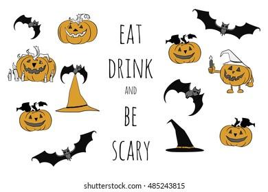 Halloween vector set. Cartoon design. Hand drawn pumpkins, hats on labels  Halloween characters