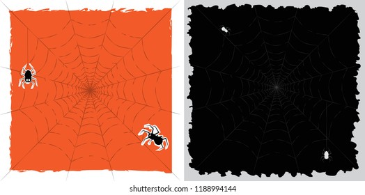 Halloween vector set of spider web  for card,poster in orange and black background.