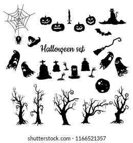 Halloween vector silhouettes set