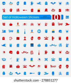 Halloween vector sticker icons with shadow. Paper cut