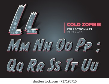 7c53340775 Halloween Vector Zombie Font. Raggy Alphabet in Horror Style. ABC Set for  Halloween Celebration
