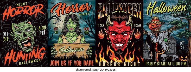 Halloween vintage colorful posters with spooky devil and zombie heads scarecrow with pumpkin head fireballs cobweb fire flames tombstones creepy female corpse with wooden board vector illustration