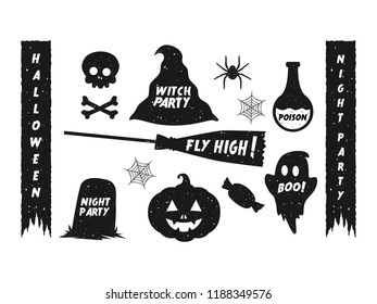 Halloween vintage element collection. Grunge gritty effect. Editable vector graphic illustration