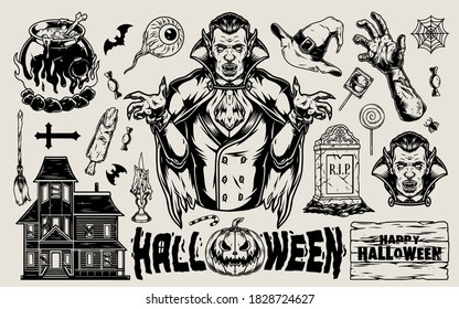 Halloween vintage elements set with vampire witch hat broom cauldron haunted house candies human eye tombstone zombie body parts bats cross cobweb pumpkin isolated vector illustration