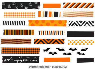 Halloween washi tape vector illustration. Black and orange masking tape strips. Semi-transparent tape strips. Halloween labels.