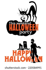 halloween weekend party invitation with pumpkin black cat zombie and tombstone
