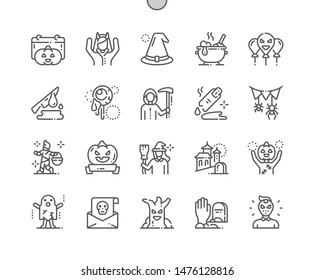 Halloween Well-crafted Pixel Perfect Vector Thin Line Icons 30 2x Grid for Web Graphics and Apps. Simple Minimal Pictogram
