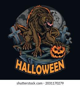 halloween werewolf on halloween night holding halloween pumpkin among scary graves