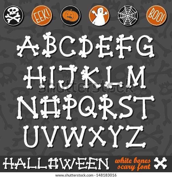 Halloween White Bones Scary Font Latin Stock Vector (Royalty