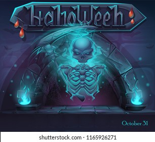 Halloween window with magic portal and skeleton. For web, video games, user interface, design.