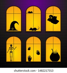 Halloween windows in hanted house. Set Vector illustration of Halloween windows silhouette horror characters decoration elements signs.