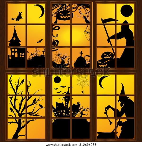 Halloween windows in house. Vector art