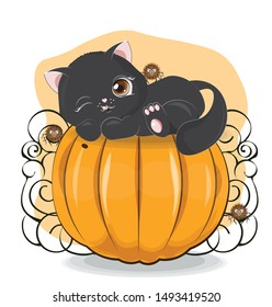 Halloween wink black cat and spider on the pumpkin The picture in hand drawing style, can be used  for t-shirt print, wear fashion design, greeting card, baby shower.