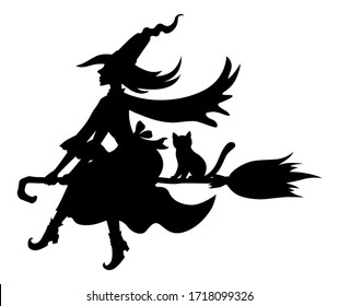 Halloween witch and cat on broom fly silhouettes