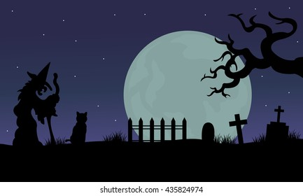 Halloween of witch and cat silhouette in tomb