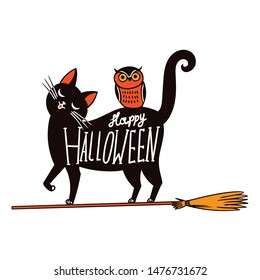 Halloween witch cat. Vector illustration isolated on white background. For stickers, pins, patches. Design for t-shirt print, animal mascot, birthday surprise party etc.