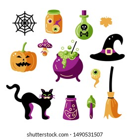 Halloween witch celebratory subjects with hat, caldron, potion bottels, poisonous mushrooms. Flat style vector illustration set. Great for Witch and Halloween party props, greeting card, logo, sticker