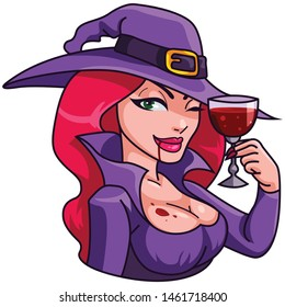 Halloween witch. The witch is drinking wine. Vector illustration in cartoon style. Isolated on white background.Vector illustration for Halloween.