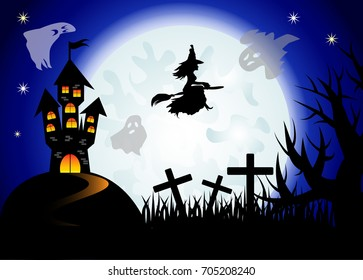 Halloween. The witch flies on a broomstick against the backdrop of a huge full moon. Night landscape, ghosts, castle