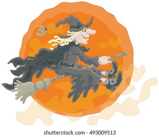 Halloween witch flying on her broom