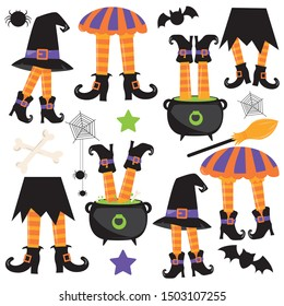Halloween witch legs clipart set