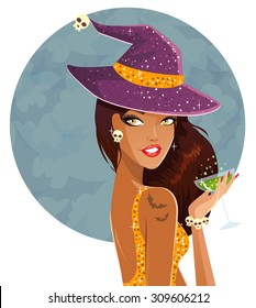 Halloween witch on a party
