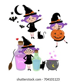 halloween witch set, cute vector