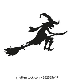 Halloween witch. Silhouette. Isolated. Vector illustration eps10.