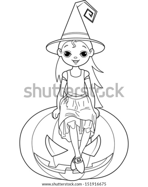 Halloween Witch and cat coloring page for kids, printable free ... | 620x491