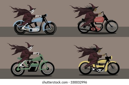 Halloween Witch  and Skeleton characters riding motorbike vector image design set for illustration, postcards, posters, stickers, labels and other creative needs.
