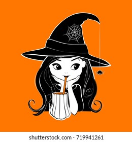 Halloween witch vector illustration isolated on pumpkin red 4b6a4eaad12f