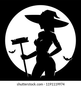 Halloween witch vintage style silhouette against the moon