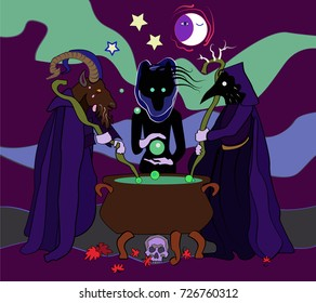 Halloween witchcraft. Three witches, evil spirits: goat headed, wolf and raven in a hooded cloaks, cauldron, moon, skull, autumn leaves, night, magic, occult ritual. Flat vector style illustration.